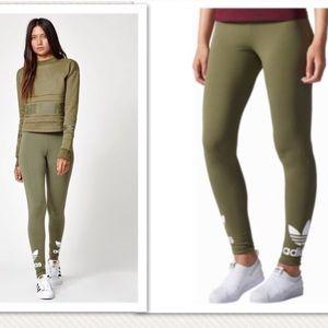 Adidas Olive Trefoil Leggings